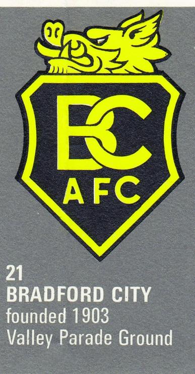 Bradford City crest 1971/72