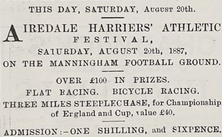 1887-08-18 advert for Airedale Ath fest